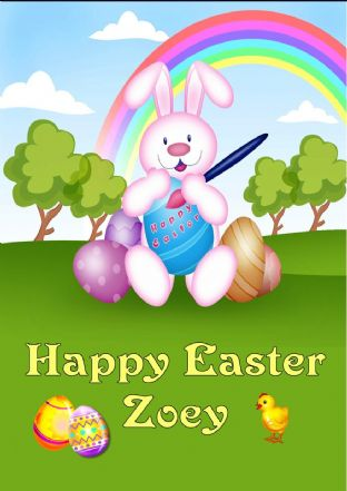 Personalised Rainbow Easter Bunny Easter Card